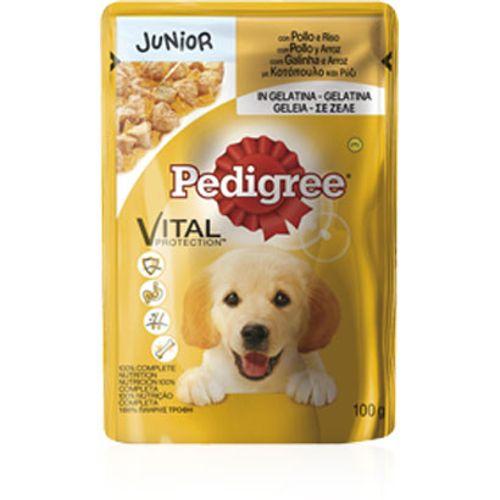 Pedigree-Vital-Protection-Junior-com-Galinha-e-Arroz-em-Geleia- -Wet-Saqueta
